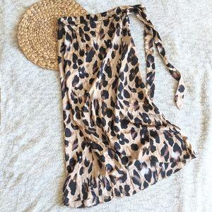 Leopard Print Silky Wrap Asymmetrical Midi Skirt